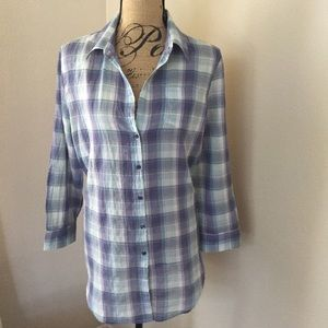 Sundance blue plaid button down M cotton blend